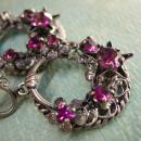 Vintage Signed PURPLE rhinestones Gypsy earrings Chandelier Drops west  Germany