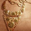 LARGE Vintage MOdernist Jade Artist Necklace dramatic geometric bib
