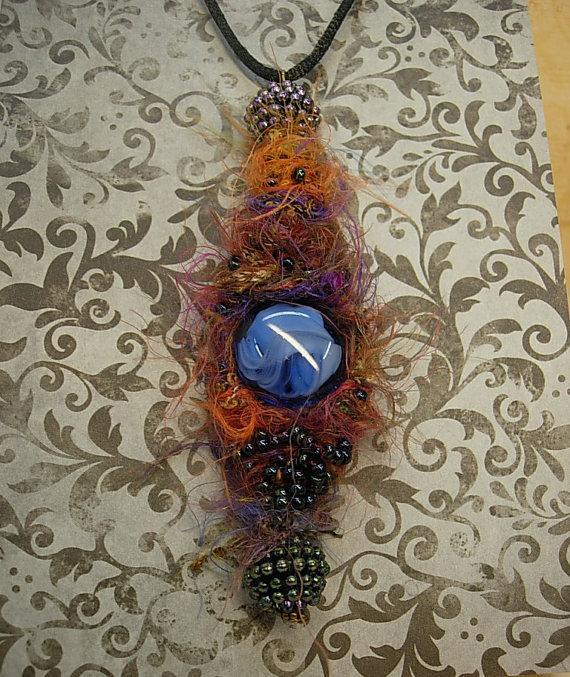 Bohemian Goddess Talisman necklace exotic eye centerpiece
