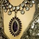 HUGE Edwardian collar necklace dramatic Gothic PURPLE rhinestone drop with festoon paste stones