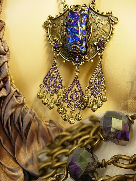 Gypsy Black opal glass necklace with amethyst chandelier drops OOAK Gothic