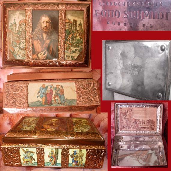 Vintage HUGE Gothic Castle hinged metal box TIn Litho  Medieval Castle