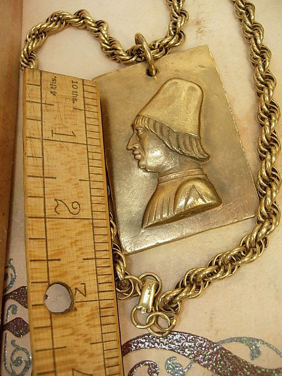 Huge Renaissance Man Necklace signed with thick baroque chain
