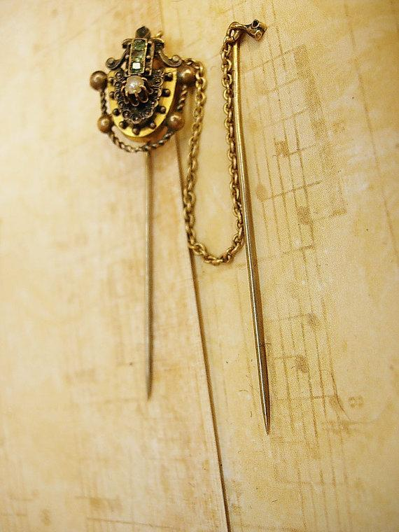 Antique emerald Pearl swag Stickpin set snake head