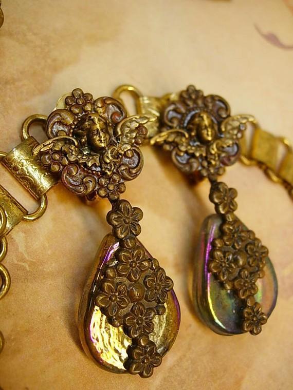 Vintage VIctorian Cherub Earrings with aurora borealis sea glass chandelier drops