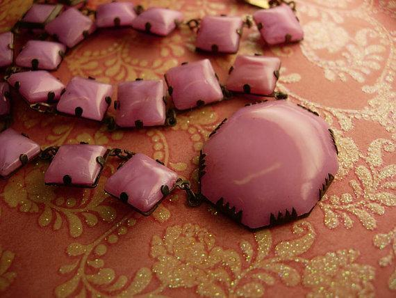 Antique Pink Slag glass deco necklace with open backs