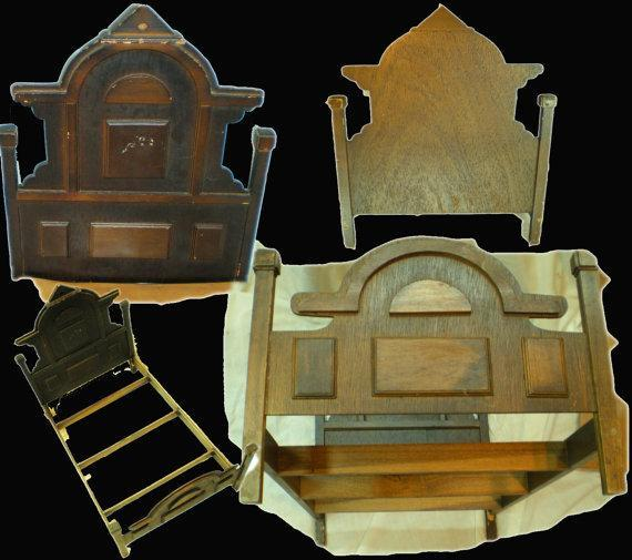 Antique Rococo Revival large doll bed wood slats doweled sides