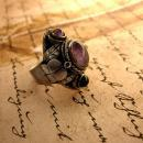 Vintage Signed Taxco Mexican Amethyst Poison ring ornate metal work