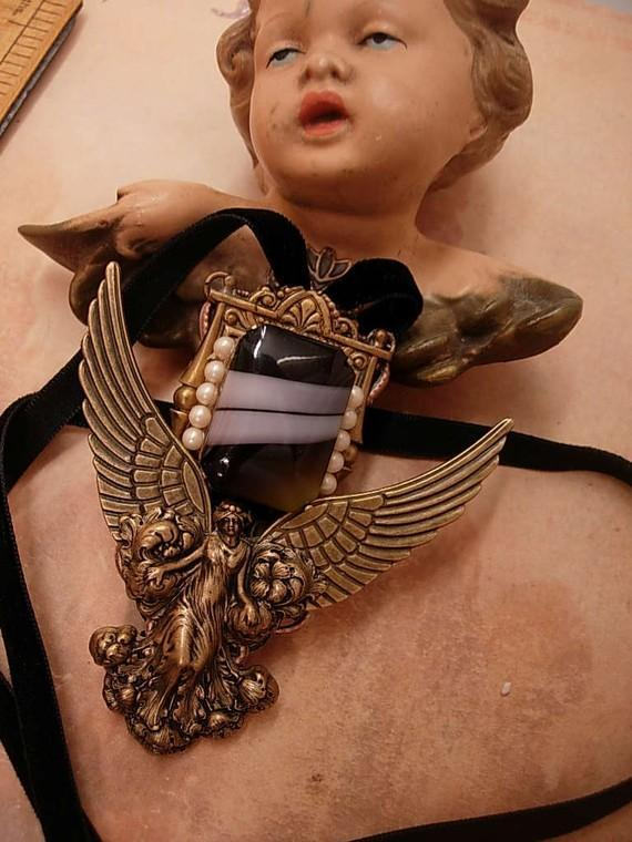 NEoclassical  Angel Necklace THE WATCHER Winged goddess