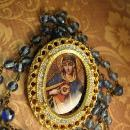 Antique Rosary Vintage Sacred Heart pendant brooch