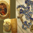 Antique Rosary Vintage Sacred Heart pendant brooch