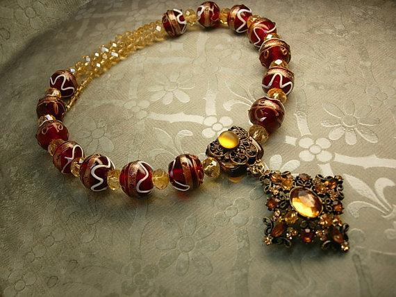 Statement Necklace HUGE Lampwork NEcklace Medieval Renaissance revival