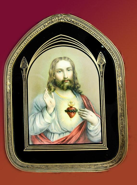Antique Art deco Reverse painted Sacred Heart  Jesus framed in art Deco ornate religious  wood frame