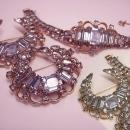 Kramer Alexandrite SIgned Bracelet 2 brooch set GORGEOUS vintage demi parure