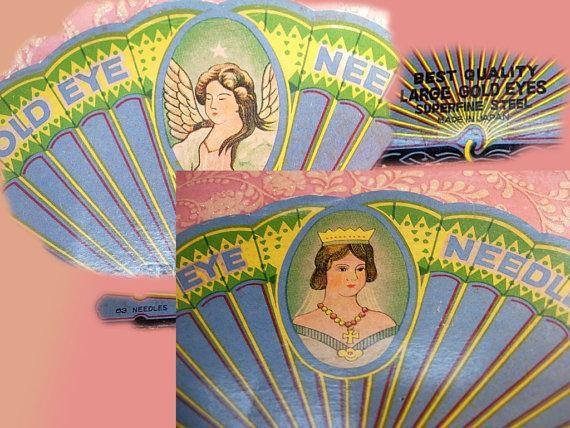 Antique Victorian Fan Needlecase Queen with jewels and crown and angel needlebook Japan