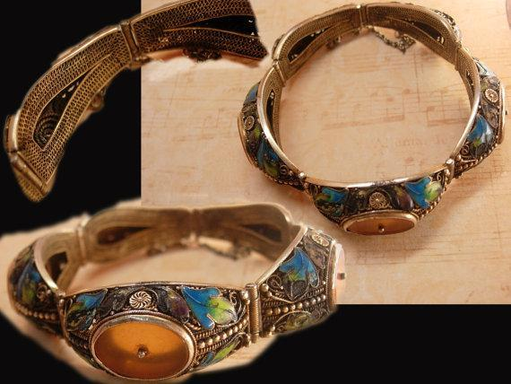 Antique Chinese enamel Bracelet With camphor glass inserts peacock colored enamel