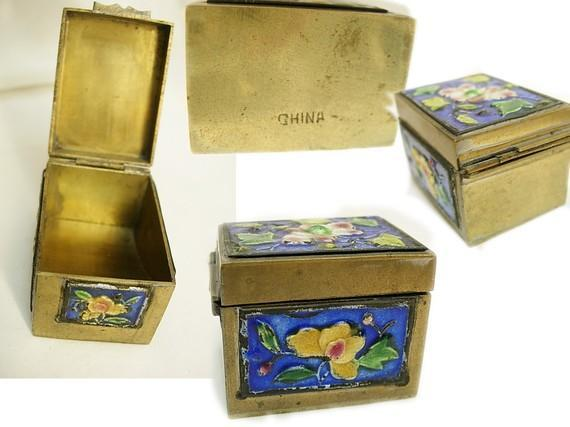 Antique Enamel Stamp Box with hinged lid and cobalt and yellow flowers