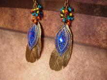 Bohemian Rhinestone feather Earrings