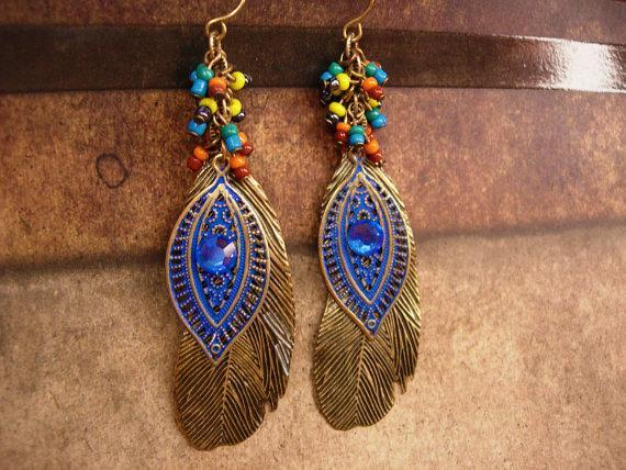 Bohemian Rhinestone feather Earrings