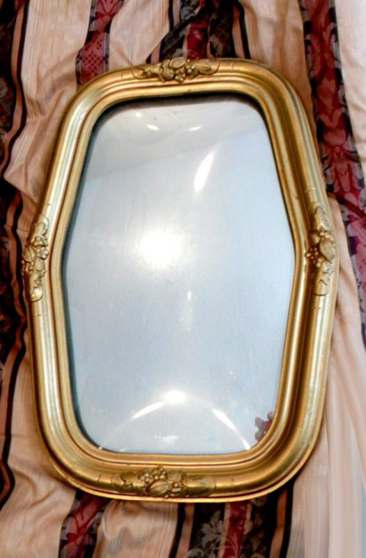 Antique Bubble glass Shrine box frame with mirror
