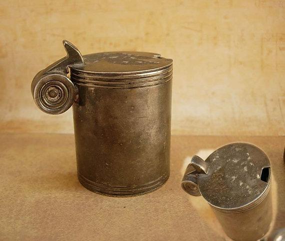 1800's Sheffield lidded mustard pot Walker & Hall with silver hallmarks