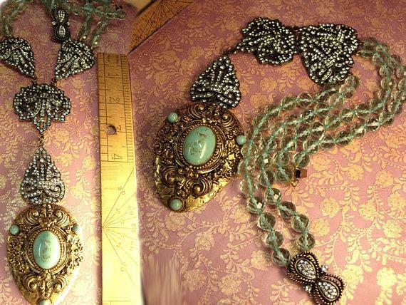 Statement necklace Heidi Daus pave rhinestones with victorian dress clip in Turquoise