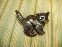 Vintage Napier sterling brooch Halloween cat signed brooch