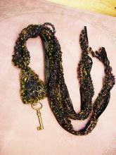 Gothic Spider necklace woven textiles in peacock colors and skeleton key