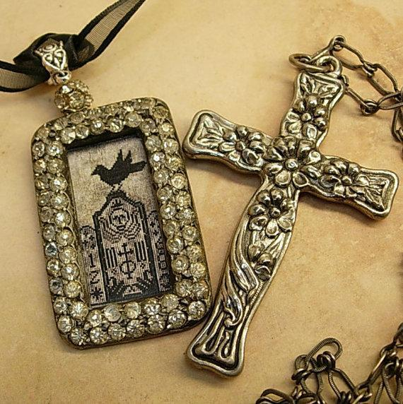 Gothic Raven & Victorian cross necklace Haunting  paste rhinestones sterling chain black ribbon