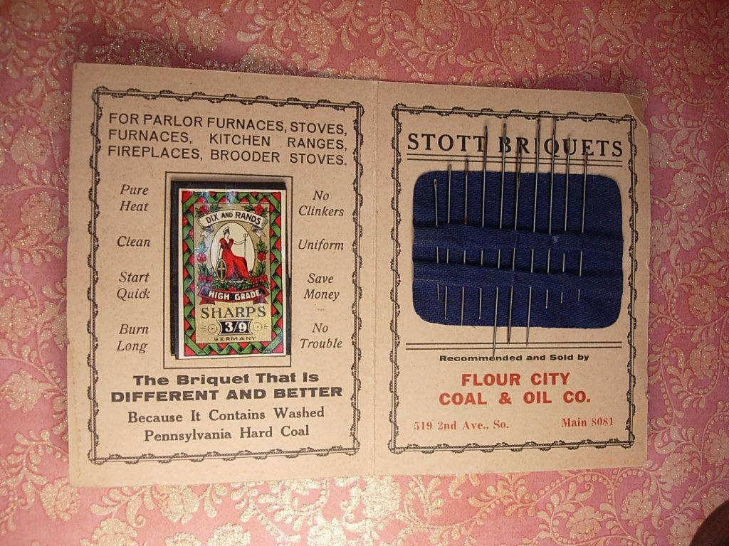 1930s Advertising Needlecase Stott Briquets Needlebook COMPLETE with all original needles