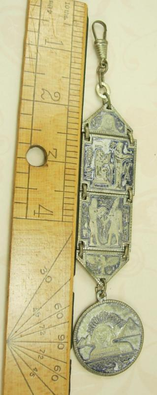 VIntage Grand tour Fob  Egyptian Revival enamel watch fob