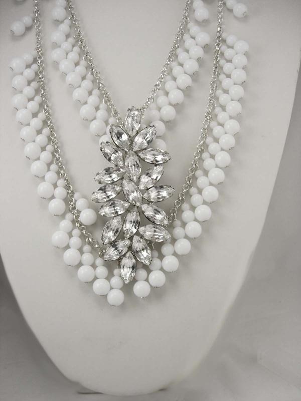 Dramatic Rhinestone wedding Bib necklace HUGE centerpiece chandelier drops