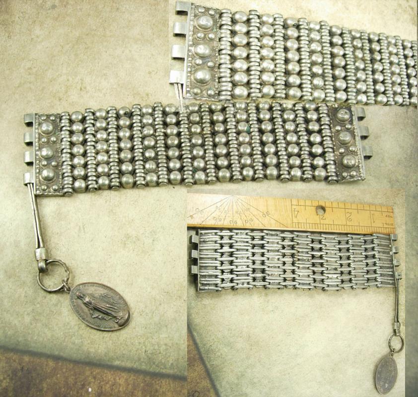Vintage Rosary bracelet Medieval sacred heart Religious medal fob