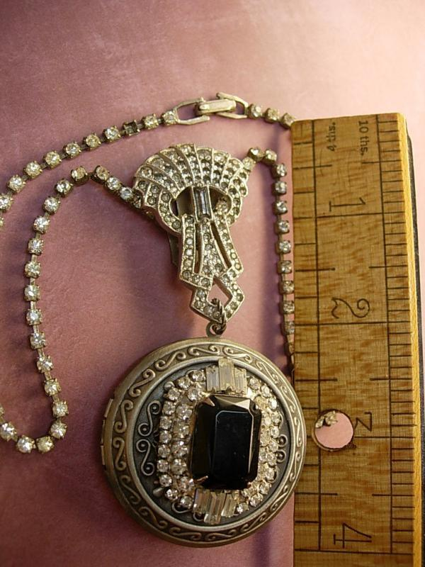 Flapper Locket NEcklace Jeweled top Art deco Paste