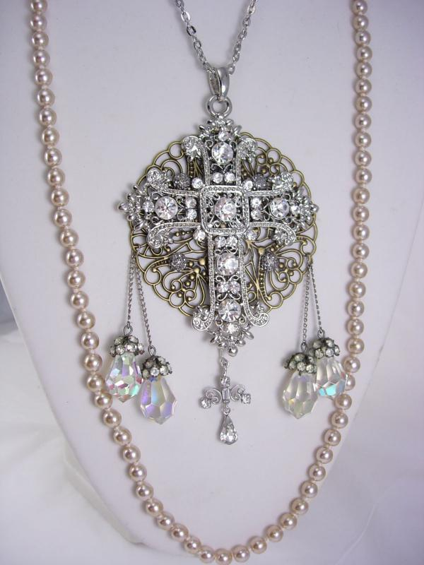 Romantic Gothic Rosary Necklace Long wedding Pearls and glass prism drops chandelier renaissance