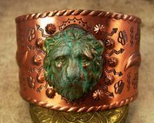 HUge Gothic Lion Cuff Bracelet Distressed Lion with copper band