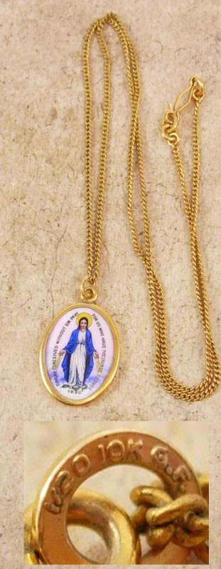 Antique Icon necklace 1830 Hungarian Enamel Miraculous Portrait GOLD Vintage Sacred Heart