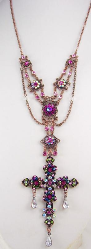 Bohemian rhinestone Rosary necklace Purple PInk crystal drops and more