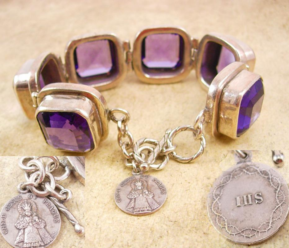 HUGE Amethyst silver Bracelet with infant of prague sterling icon charm fob