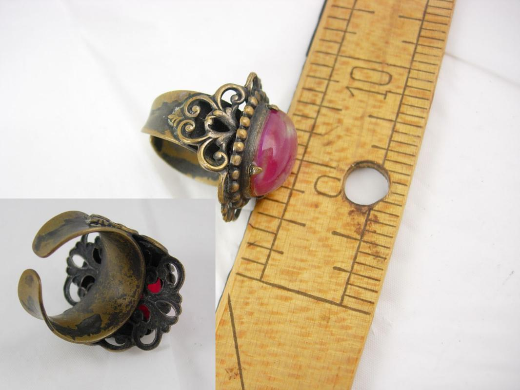 1920's vintage jelly opal RIng heavy filigree dragons breath size 6