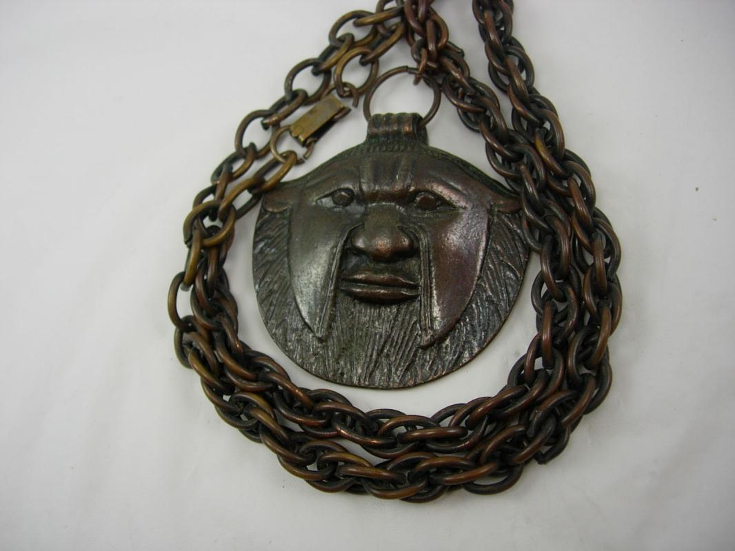 Vintage Bizarre bronze Face Necklace Hand wrought animal human