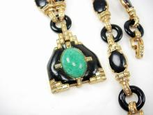 Vintage signed Ciner HIGH fashion necklace Asian pendant LOADED with baguettes