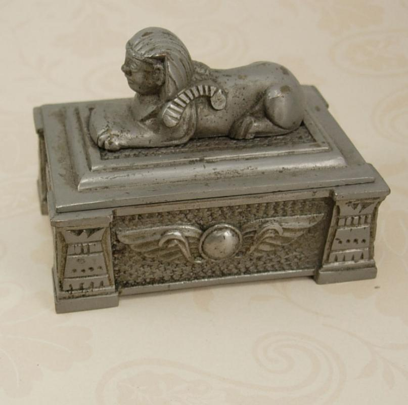 Antique Egyptian Revival Sphinx Stamp   Box tobacco box King Tut Winged Beetle