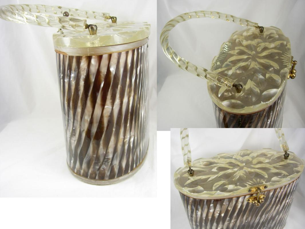 Vintage circa 1940 Striped collectible lucite purse carved oval box