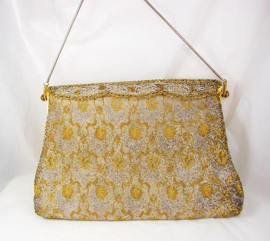 Vintage Hand made in France purse micro beaded french clutch