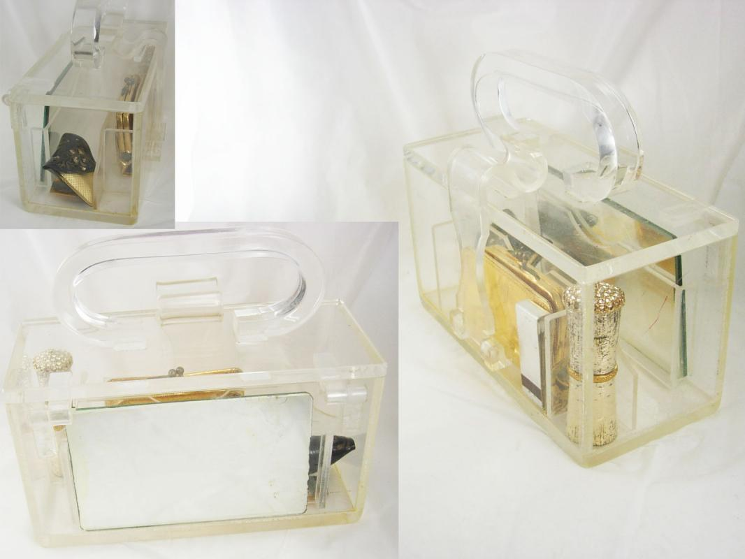 Vintage Clear Carrie Munn Signed compartment Lucite Box purse with accessories pat 195519 Purely stunning