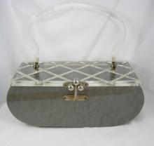 Vintage silver gray marbelized lucite purse with carved top Grey retro design