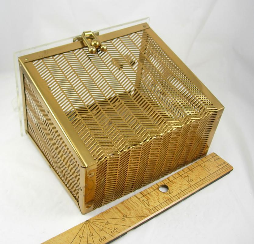 VIntage 1950's Lucite and herringbone brass box purse Industrial Retro design