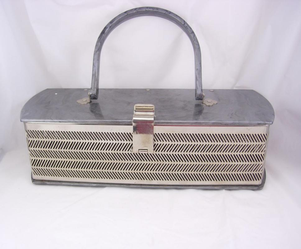 Vintage Lucite Industrial herringbone chrome box Purse MW USA Handbags