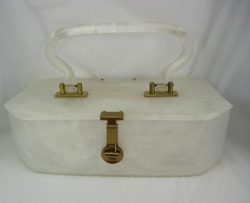 Vintage White pearlized lucite purse with clear hinged handle marbelized swirls